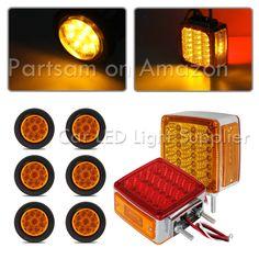 partsam 12v 4 round led truck trailer rv stop turn tail lights rh pinterest com