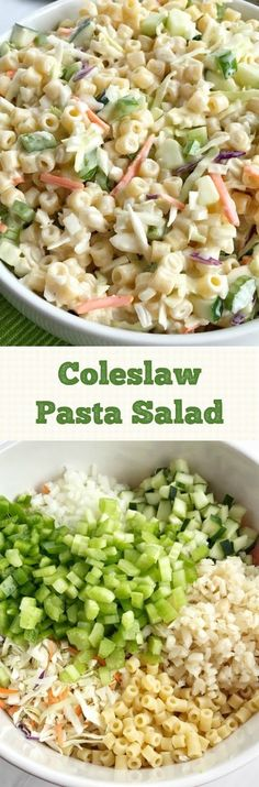 Coleslaw Pasta Salad Pasta Salad crab noodle salad is a family recipe, one of my favorite dishes!This crab noodle salad is a family recipe, one of my favorite dishes! Picnic Salad, Healthy Coleslaw, Healthy Brunch, Brunch Food, Brunch Ideas, Breakfast Ideas, Pasta Salad Recipes, Mediterranean Recipes, Mediterranean Couscous