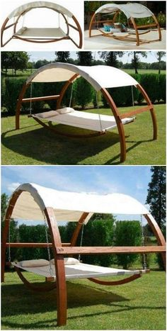 Diy Hammock, Backyard Hammock, Hammock Swing, Backyard Patio, Backyard Landscaping, Hammock In Bedroom, Outdoor Hammock Bed, Sleeping Hammock, Outdoor Swings