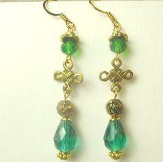 Celtic charm with emerald teardrop and czech glass by beadwizzard