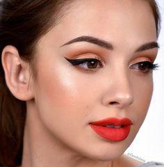 Bright lips and fierce liner Denitslava Denitslava Makeup, Eyeshadow Makeup, Makeup Looks, Makeup Ideas, Drugstore Makeup, Eyeshadow For Brown Eyes, Makeup For Brown Eyes, Bright Lips, Blush