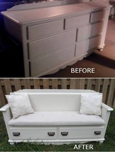 Turn an old bureau into a bench with storage.
