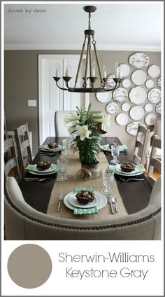 Sherwin-Williams Keystone Gray paint on walls - a beautiful, warm mid tone gray