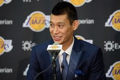 EL SEGUNDO, CA - JULY 24: Jeremy Lin #17 of the Los Angeles Lakers speaks to the media during a press conference on July 24, 2014 at the Toyota Sports Center in El Segundo, California. NOTE TO USER: User expressly acknowledges and agrees that, by download
