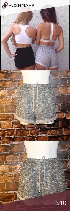 Grey Gym Shorts *Mock drawstring waist grey gym style shorts.*  Only Large Left  Fabric: 60% Cotton 40% Polyester Shorts