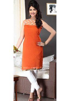 Buy Orange Faux Georgette Churidar Kameez online, work: Embroidered, color: Orange, usage: Party, category: Salwar Kameez, fabric: Georgette, price: $74.45, item code: KES28, gender: women, brand: Utsav