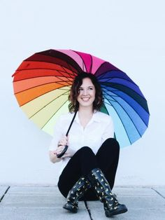 New Head Shots with Colorwheel Umbrella, yellow rubber ducky rain boots and white wall infront of Cielo Salon in Downtown Medford, Oregon.  Photo by Breanna x Hope Photography