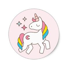 Birthday. Cute Unicorn with Cute Sparkles. Classic Round Sticker - birthday diy gift present custom ideas