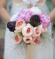 #Peonies, roses, and purple #artichoke wedding bouquet. | CHECK OUT MORE IDEAS AT WEDDINGPINS.NET | #weddings #weddingflowers #weddingbouquets #bouquets