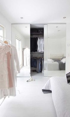 Bedroom closet ideas built in wardrobe mirror door ideas You are in the right place about pocket closet doors Here we offer you the most beautiful pictures about the panel c Bedroom Closet Doors Sliding, Curtains For Closet Doors, Mirrored Wardrobe Doors, Mirror Closet Doors, Mirror Door, Curtain Wardrobe, Bedroom Wardrobe, Wardrobe Closet, Built In Wardrobe