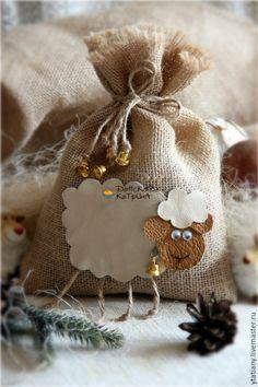 Купить Мешочек для подарков с овечкой-символ 2015 года! - мешочек, Мешочек для подарков, новогодний мешок