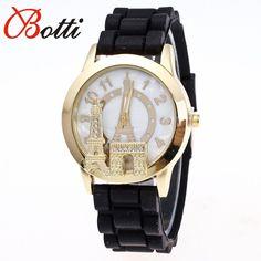 Ybotti New Fashion Montre Femme Quartz watch women Rhinestone Dress watches Eiffel Tower Female silicone sports Watches Hot sale