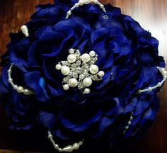 """Top view of 7"""" bouquet with single pearl brooch, 2 strands pearls and wrapped handle. $32.00 USD www.etsy.com/myglorifiedlife"""