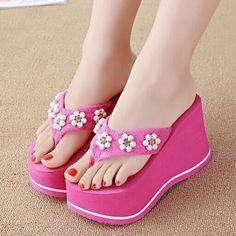 Women'S Summer Flip Flops Wedges Sandals High Heels Platform Pumps Beach Shoes