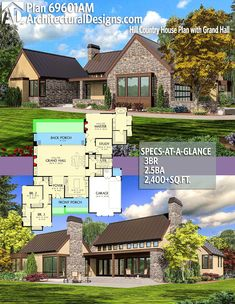 Architectural Designs House Plan 69601AM gives you 3 beds, 2.5 baths and over 2,400 square feet of heated living space. Ready when you are. Where do YOU want to build? #69601AM #adhouseplans #architecturaldesigns #houseplan #architecture #newhome #newconstruction #newhouse #homedesign #dreamhome #dreamhouse #homeplan #architecture #architect #hillcountry