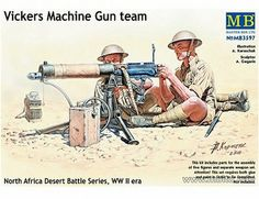 The Master Box British Vickers Machine Gun Team Model Figures in 1/35 scale from the plastic figure model kits range accurately recreates the real life British machine gunners from World War II. This Master Box figure models set requires paint and glue to complete.