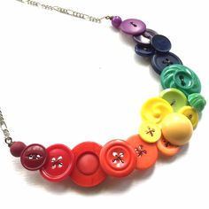Rainbow Spectrum Button Statement Necklace  by buttonsoupjewelry