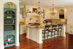 Traditional White Kitchen Cabinets #TT138 (Crown-Point.com, Kitchen-Design-Ideas.org)