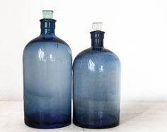 Set of 2 Antique LARGE French blue APOTHECARY Bottles  First Part Very rare in this size: