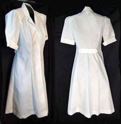 Vintage 1970s 80s  Nurses Uniform Belted Back White Cotton Blend Peaches M Nurse Dress $28