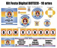 Na compra do Kit Festa BOTECO, nós personalizamos as artes com o nome, idade e dados da festa e enviamos o arquivo em PDF para que você mesmo possa imprimir, recortar e montar.    O Kit Festa Boteco é Unissex e pode ser usado para Aniversários, Chá de Panela, Chá Bar, etc.  O kit contém 10 artes:...