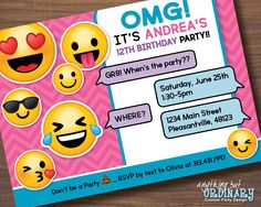 Printable Emoji Birthday Party Invite, Girl's Emoji Invitations, digital file by ABOcustomDesign on Etsy https://www.etsy.com/listing/386574344/printable-emoji-birthday-party-invite