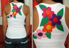 Great flower design for an appliqué ! Diy Clothes Refashion, Sewing Appliques, Christmas Shirts, Sewing For Kids, Sewing Clothes, Fabric Flowers, Flower Designs, Sewing Crafts, Pattern Design