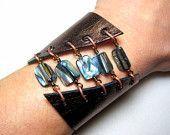 Smitherine | Handcrafted Silk & Stone Jewelry by SmitherineDesigns - #metallicleather - Smitherine | Handcrafted Silk & Stone Jewelry by SmitherineDesigns... Bracelets Wrap En Cuir, Bracelet Cuir, Cuff Bracelets, Leather Bracelets, Leather Cuffs, Leather Necklace, Metallic Leather, Tiffany Jewelry, Leather Jewelry Making