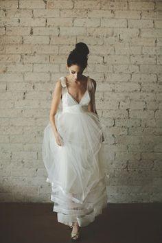 Deep V Neck Floor Length A Line Tiered Tulle Wedding Dress by ouma, $1,280.00