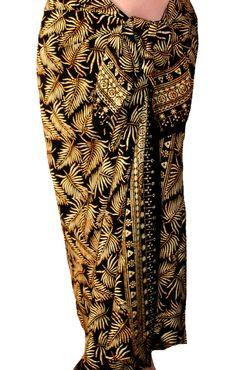 Black & Green Batik Sarong Women or Men Clothing Beach by PuaWear