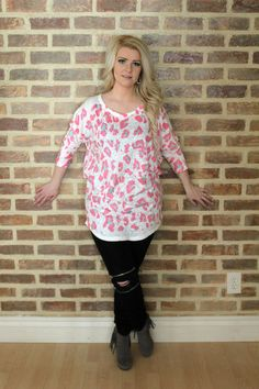 Quincy Leopard Print Quarter Sleeve - Pink and Mint