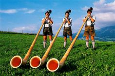 Alphorn is a popular one of the traditional instruments. An alphorn is about 5 m long; trumpet players should also be able to play the alphorn- but there are no holes and no mechanics have to play it with the lips. Strange Music, World Thinking Day, Andes Mountains, Voyage Europe, Swiss Alps, World Music, Sound Of Music, Girl Scouts, Musical Instruments