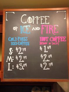 """Coffee of Ice and Fire"" Game of Thrones-inspired chalk for Dragon Con 2015"