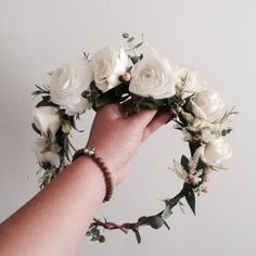 The Sarah Crown // White Ranunculus, Astilbe and Eucalyptus www.thecrowncollective.co