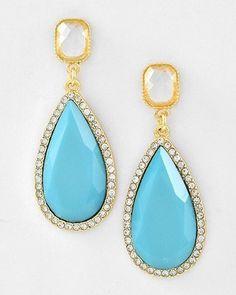 Faceted Turquoise & Clear Acrylic Teardrop Rhinestone Gold Tone Dangle Earrings