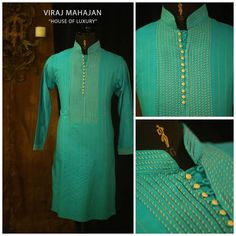 Looking good at your gallant wedding ceremonies can be effortless with stunner turquoise hued kurta, designed with… African Dresses Men, African Men Fashion, Mens Fashion, Gents Kurta Design, Boys Kurta Design, Mens Indian Wear, Mens Ethnic Wear, Kurta Pajama Men, Kurta Men