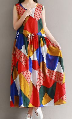 Women loose fitting over plus size patchwork Bohemian Boho dress maxi tunic chic #Unbranded #dress #Casual