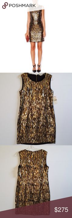 Amazing Shoshanna Sequin Sheath Dress NWT. Absolutely gorgeous Shoshanna Sequin Sleeveless Sheath Dress. Lined. Back zipper. Black, gold, rose gold sequins. Retails $495! Price tag was cut off. Comes with label tag and bag of extra sequins attached. Size 10. No rips, tears, stains, zero missing sequins. No Trades! Shoshanna Dresses