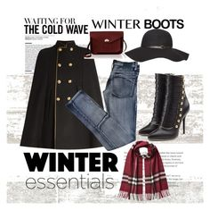 """winter boots"" by nineseventyseven ❤ liked on Polyvore featuring Balmain, Yves Saint Laurent, Cheap Monday, Dorothy Perkins, Burberry and The Cambridge Satchel Company"