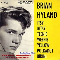 Itsy Bitsy Teenie Weenie Yellow Polka Dot Bikini - This song is the reason my mom & dad bought me one when I was two. Brigitte Bardot, Richard Antony, Polka Dot Bikini, Polka Dots, Brian Hyland, Friday Dance, Dalida, Silly Songs, 60s Music