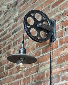 Train Station Wall Pulley Light – Vintage Industrial Cast – – Wall Pulley – Industrial Pulley – Gears – Steampunk Light – Quality - All For Decoration Modern Industrial Decor, Industrial Wall Lights, Vintage Industrial Lighting, Industrial Light Fixtures, Industrial Interior Design, Vintage Industrial Furniture, Rustic Lighting, Industrial House, Industrial Interiors