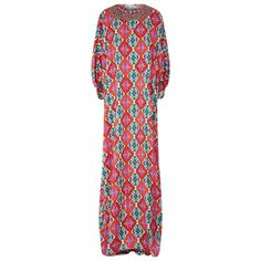 Andrew Gn Kilim Print Kaftan Dress (25505 MAD) ❤ liked on Polyvore featuring dresses, evening dresses, silk dress, silk kaftan, silk caftan and night out dresses