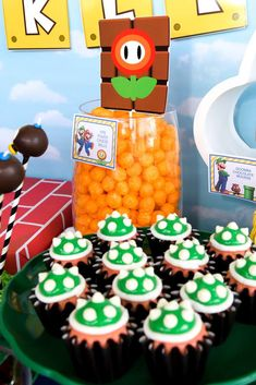 Check out the fun cupcakes at this Super Mario Birthday Party! See more  party ideas and share yours at CatchMyParty.com #catchmyparty  #partyideas  #supermarioparty #supermariorbros #supermariocupcakes