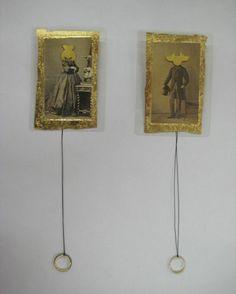 Tereza Seabra Brooch: Broken Hearts III, 2009 Gold, gold leaf, vintage photos, XIX Century gold rings, pvc, silk thread