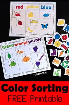 Color Sorting Printable Activity is part of Preschool colors - FREE Color sorting printable for toddlers and preschoolers perfect for learning colors, increasing vocabulary, promoting language and speech development