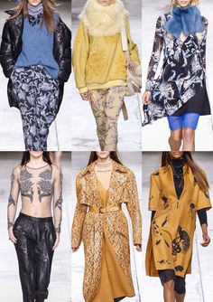 Topshop Unique - London Fashion Week – Autumn/Winter 2014/2015 – Print Highlights – Part 2 catwalks Snake Skin Plays – Tattoo-Style Thread Embroidery- Inked Floral Pattern - Either Engineered Placement or Allover Repeat - Large-Scale Floral Bouquets – Bugs, Birds and Nature Drawings