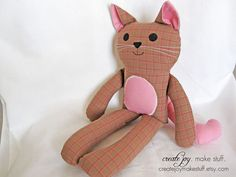 Get 3 - Cat Sewing Pattern & Tutorial  - Easy, simple, kitten, cloth, fabric, plushie, softie, doll, stuffed, soft, toy, gift, craft, DIY. via Etsy.