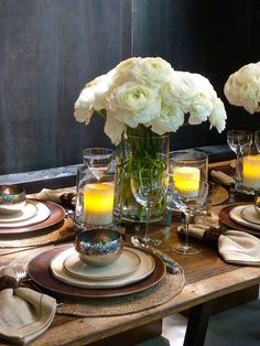 Ralph Lauren for Dining by Design - rustic chic mix of clean modern lines and leather, linen, rough woven mats and hammered metals.