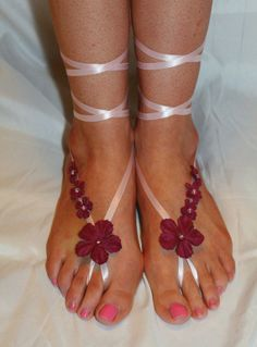 Pink With Purple Barefoot Sandals by AppalachianArtisans on Etsy, $30.00