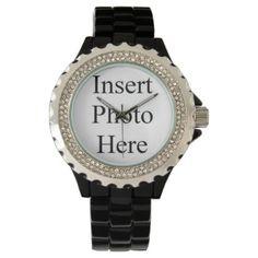 #template - #Customized Women Rhinestone Black Enamel Watch